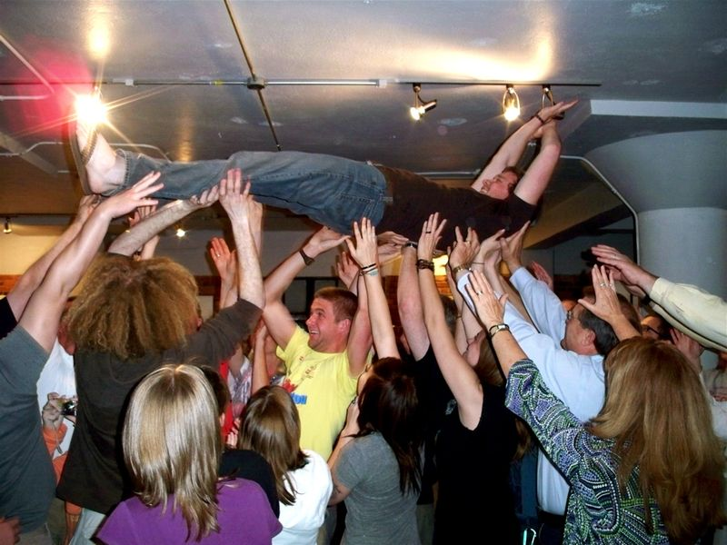 Crowd surfing at Boiler Room