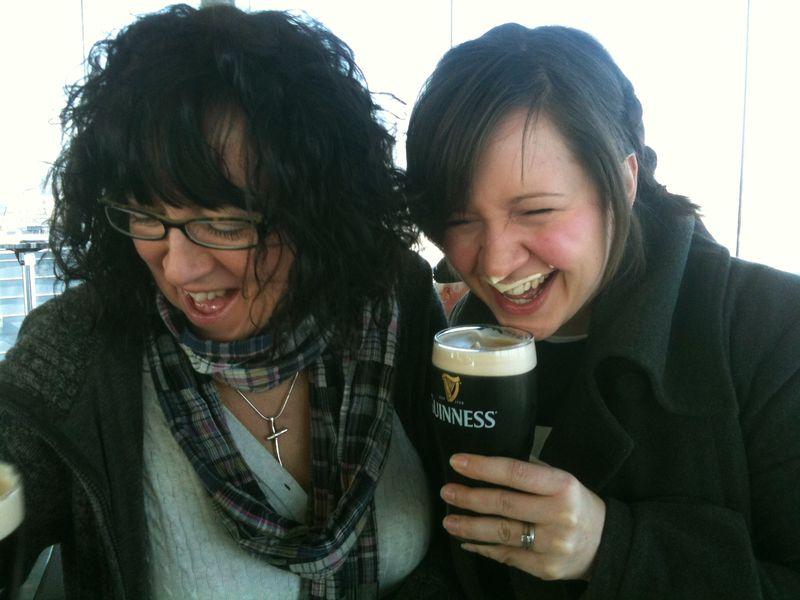 Mum Carla laughing Guiness nose tash