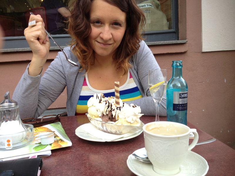 Carla eating a sunday